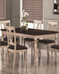 Camille transitional white ash 5pc dining table set