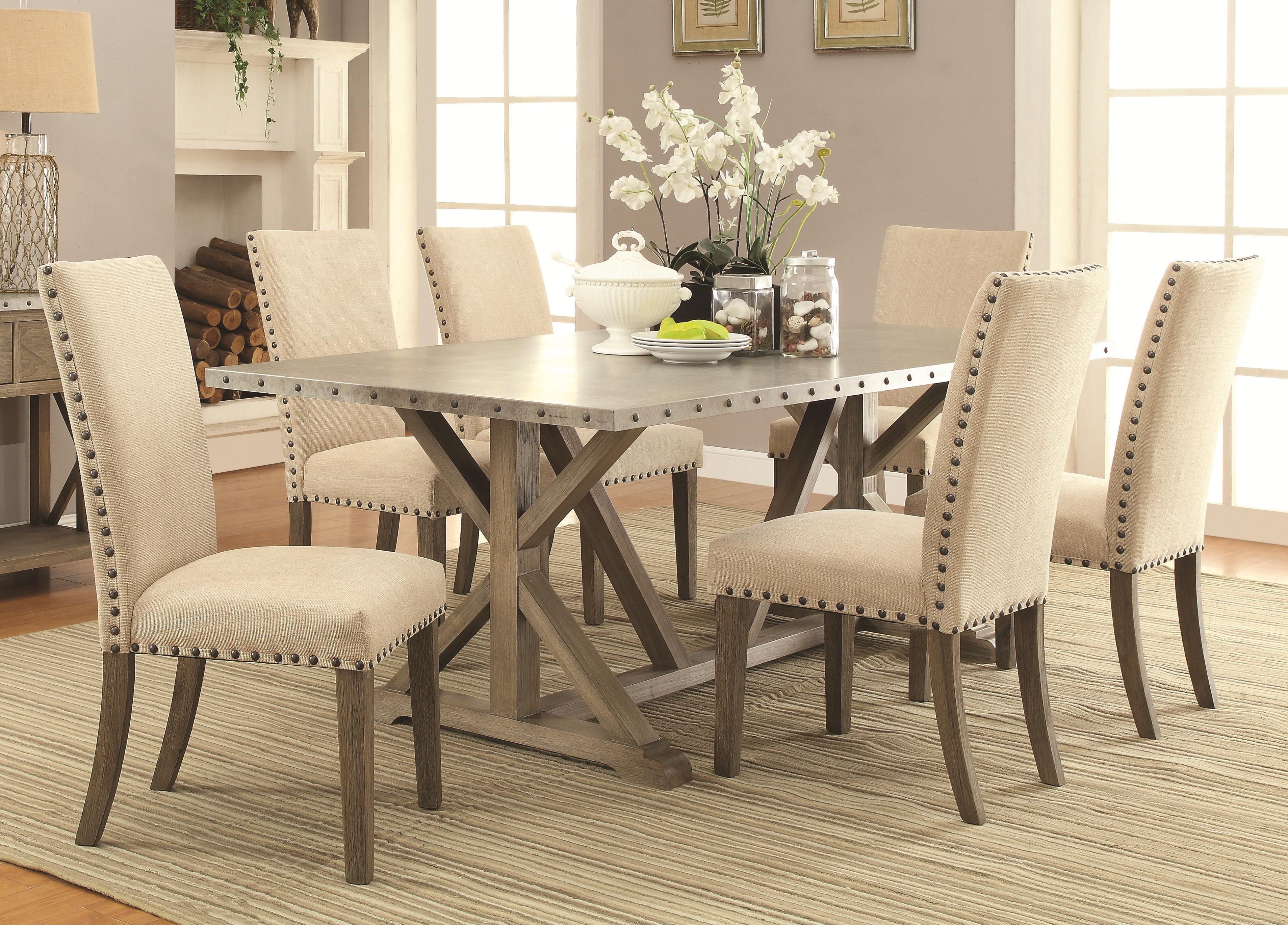 Webber 5 piece transitional style table and chair set with metal top and nailhead trim