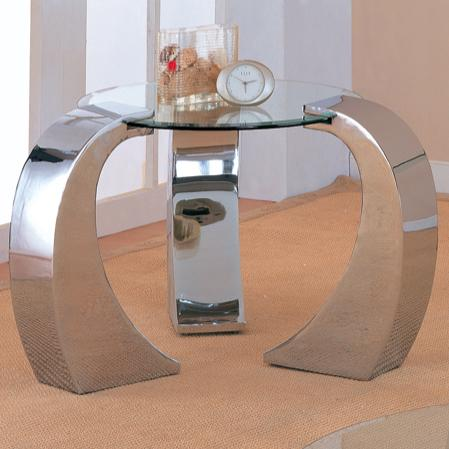 720057 custer contemporary metal end table with round glass top