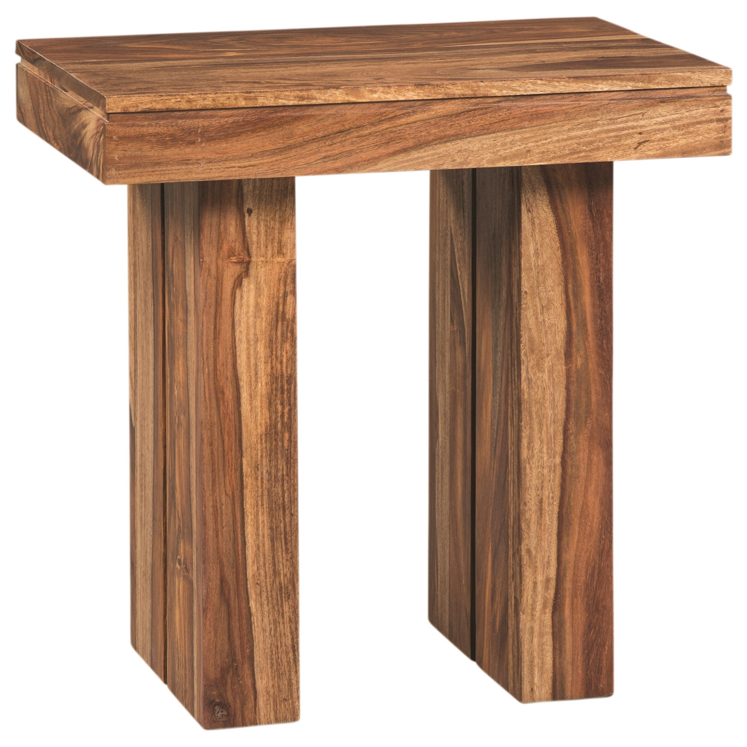 705847 rustic rectangular end table