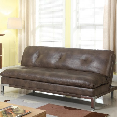 Sofa bed with brown leatherette
