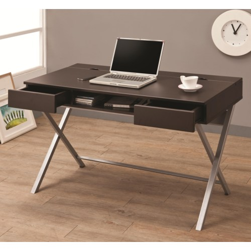 Connect-it desk (cappuccino) with built-in outlet/storage compartment