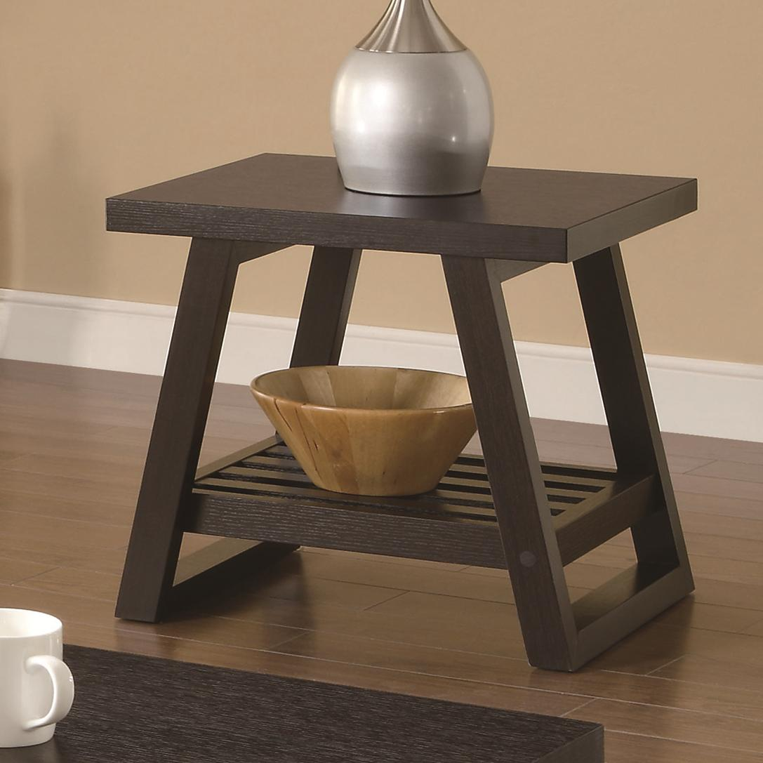 701867 casual end table with slatted bottom shelf