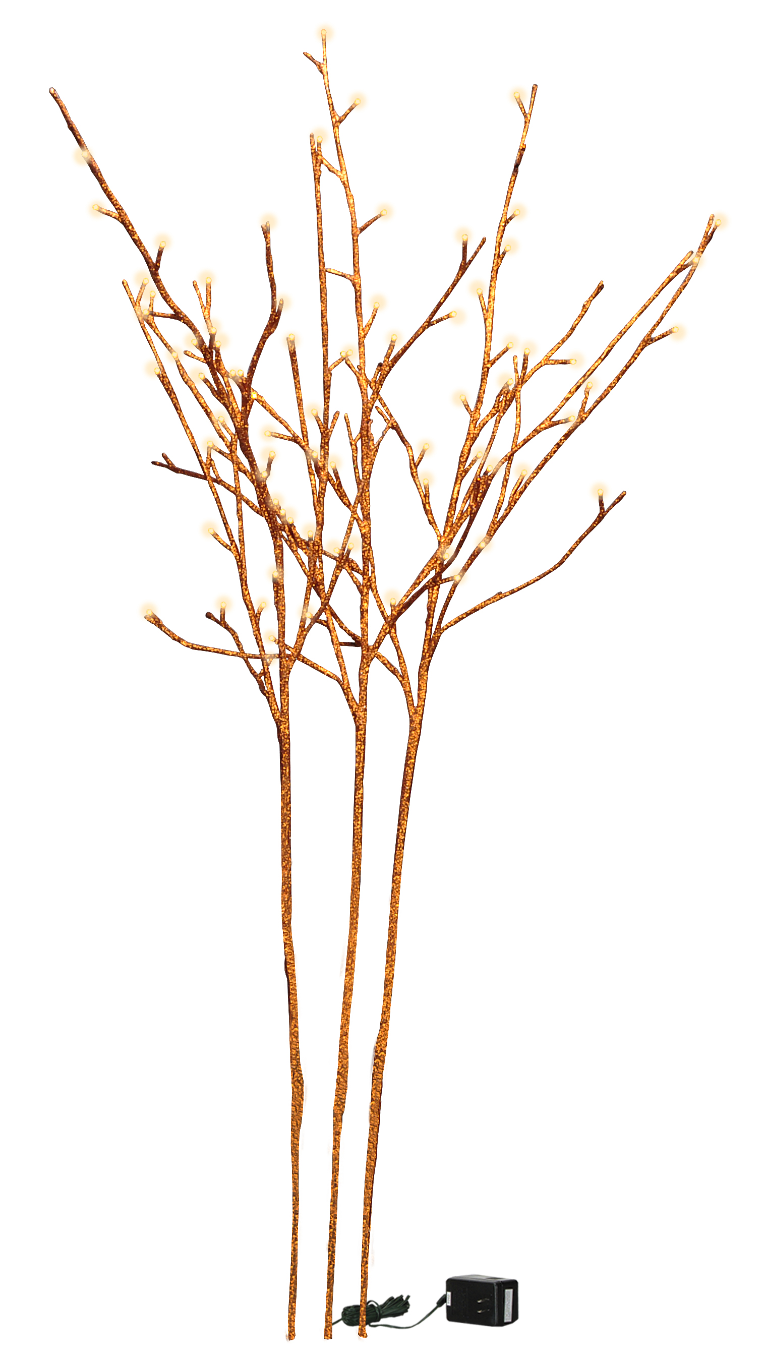 3 stem orange glitter twig - 96 lights - l 39 inches