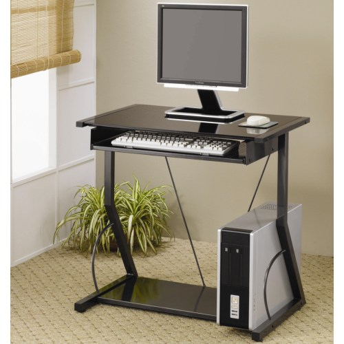 Contemporary computer desk with keyboard tray