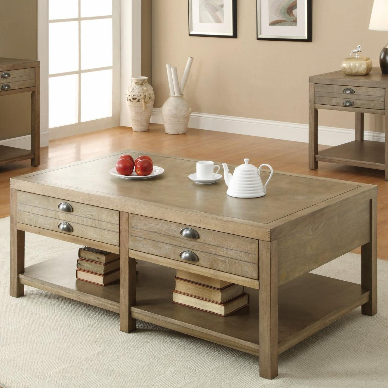 701958 cottage coffee table with two drawers