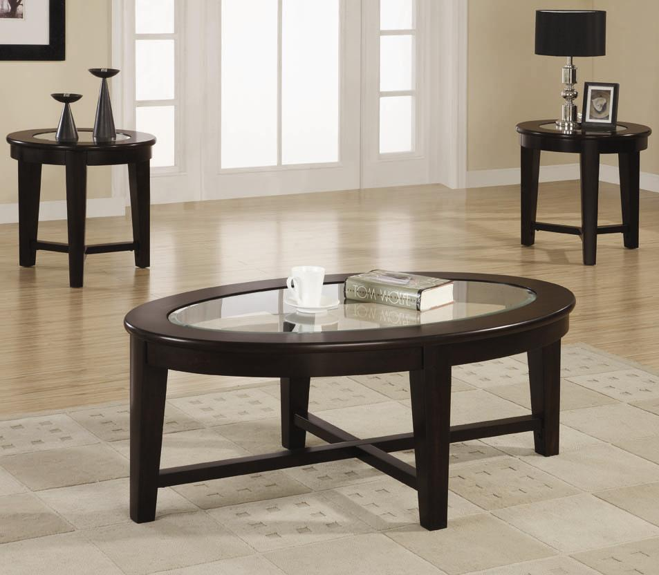 701511 3 piece occasional table set with tempered glass insert
