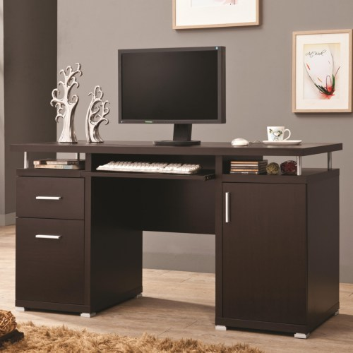 Cappuccino computer desk with 2 drawers & cabinet