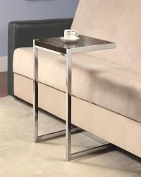 Accent tables chrome snack table with cappuccino wood top