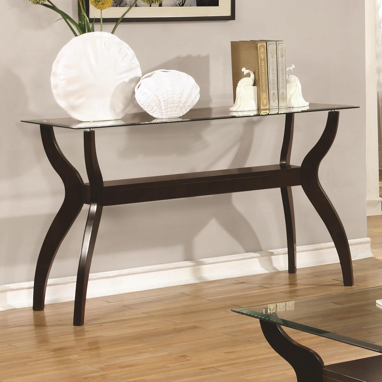 704629 mid century modern sofa table with glass top