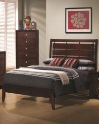 Serenity queen platform style bed with cut-out headboard design