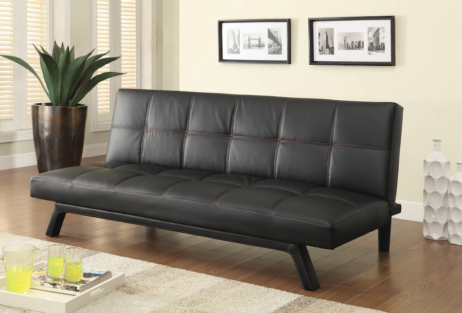 Contemporary sofa bed in black leatherette