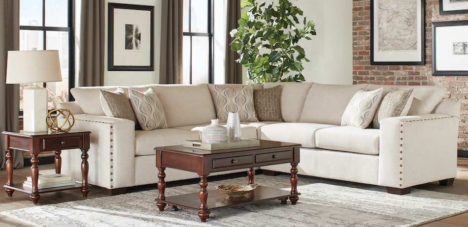 Aria l-shaped sectional with nailhead oatmeal
