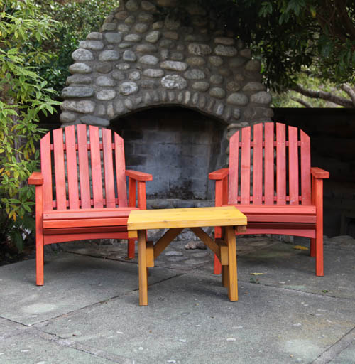 Redwood out door 3 piece chair set