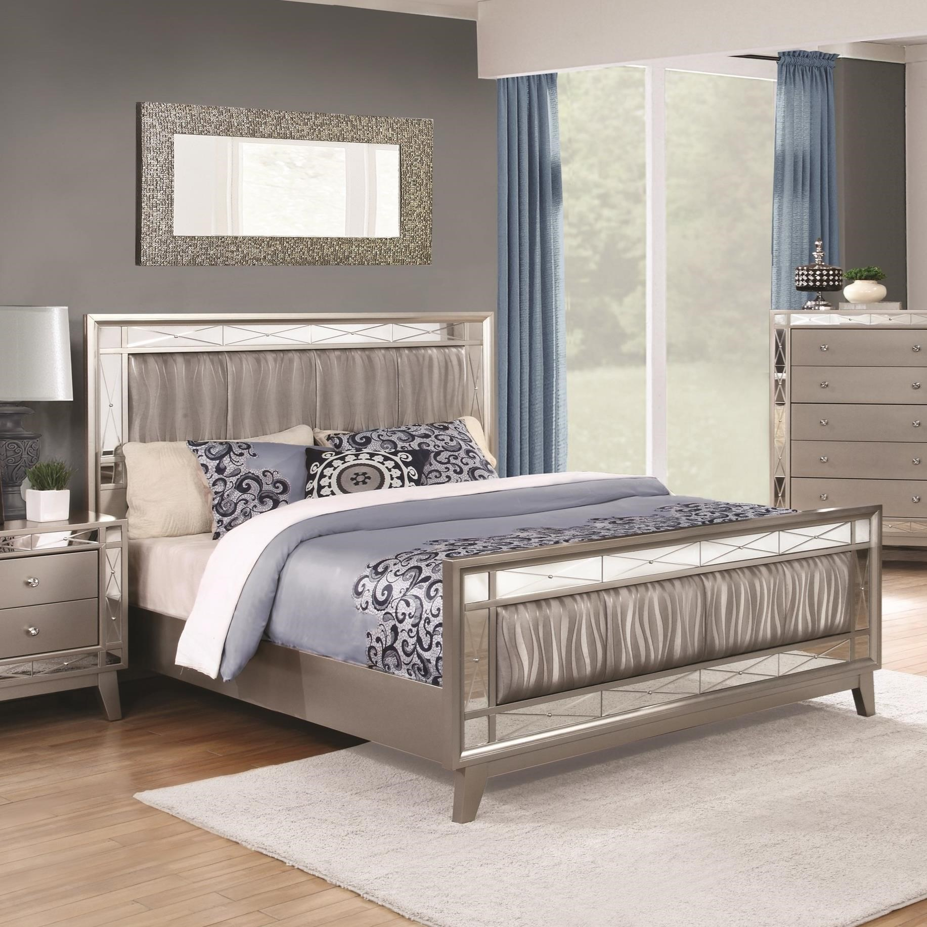 Queen 4 pc set, leighton (bed, dresser, nightstand, mirror)