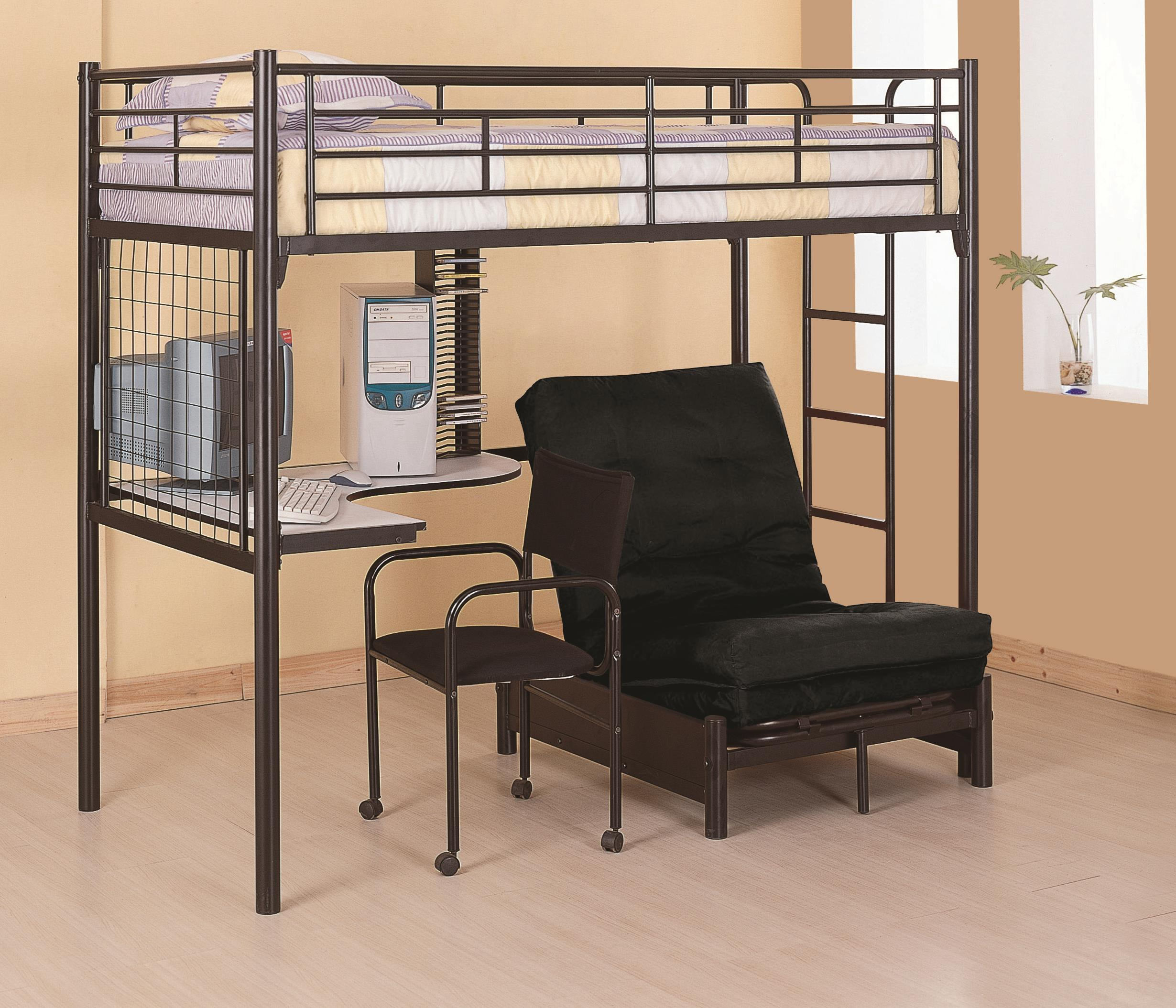 Twin loft bunk bed with futon chair & desk