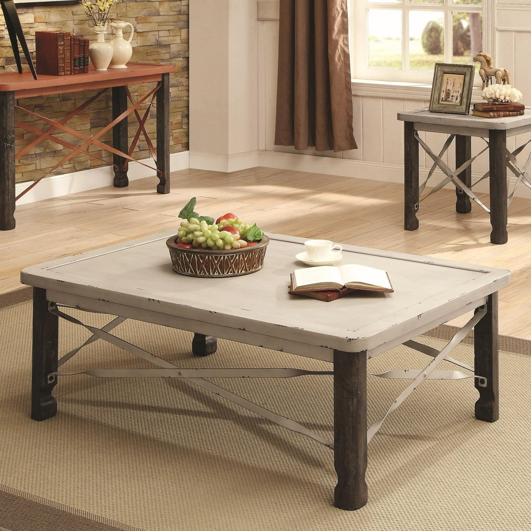 700495 rustic coffee table with white top