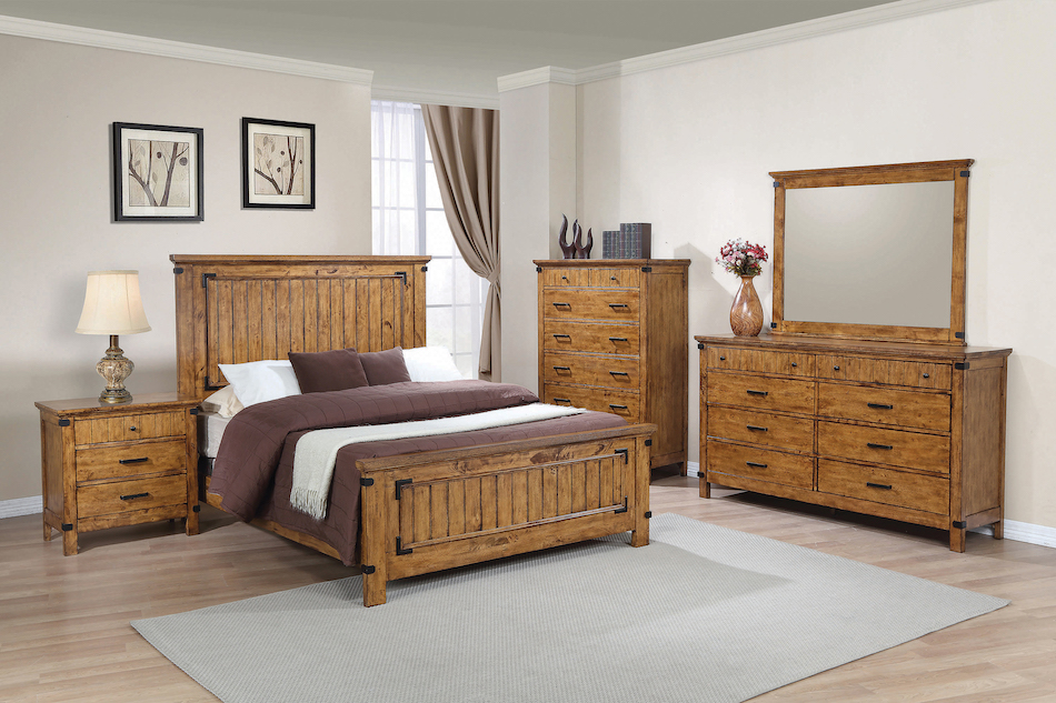 Queen 4 pc set, brenner (bed, dresser, nightstand, mirror)