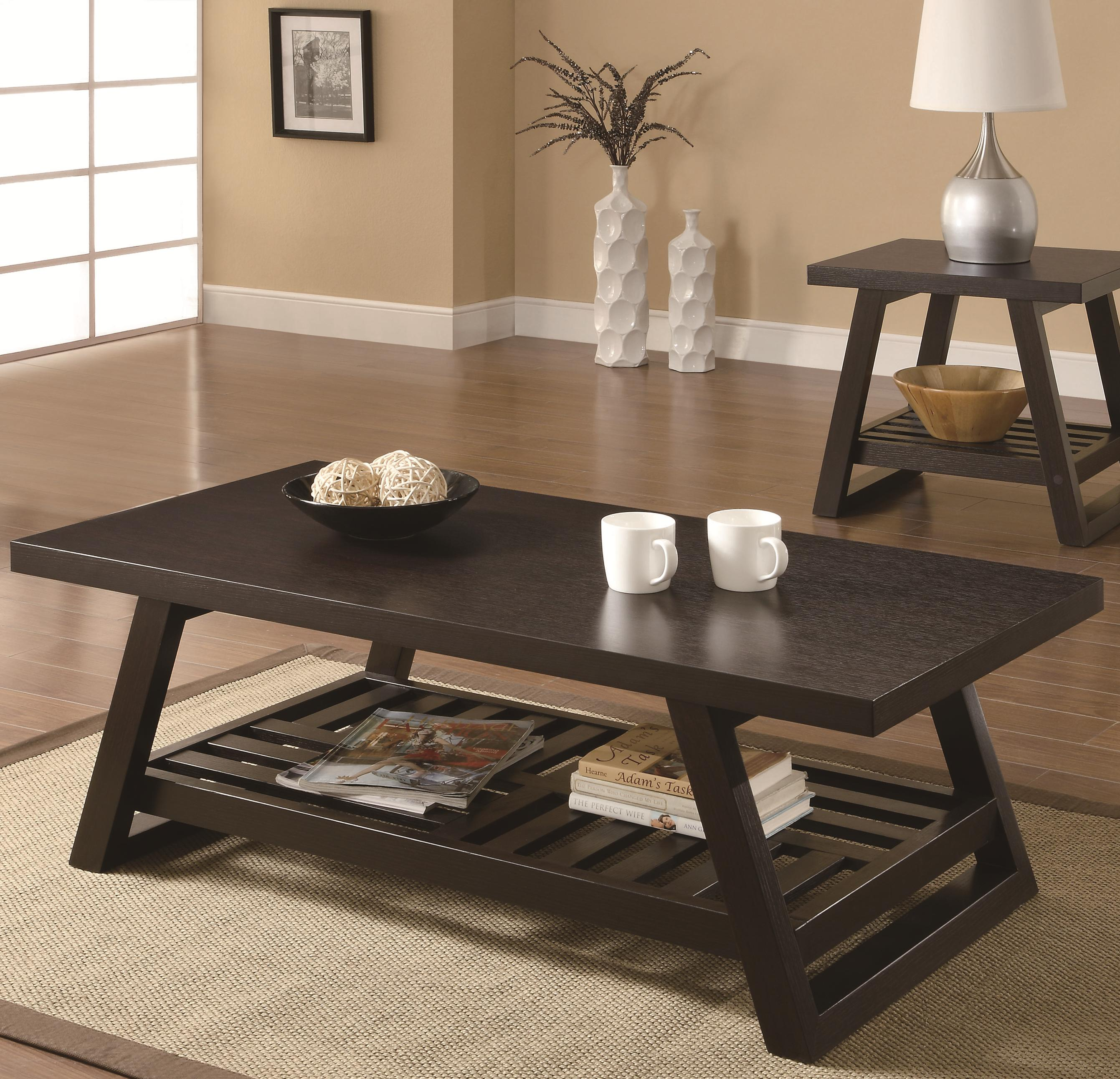 701868 casual coffee table with slatted bottom shelf