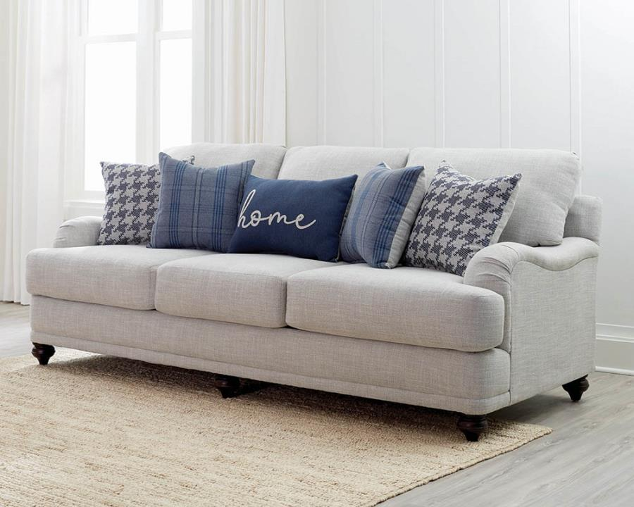 Gwen sofa recessed arms light grey