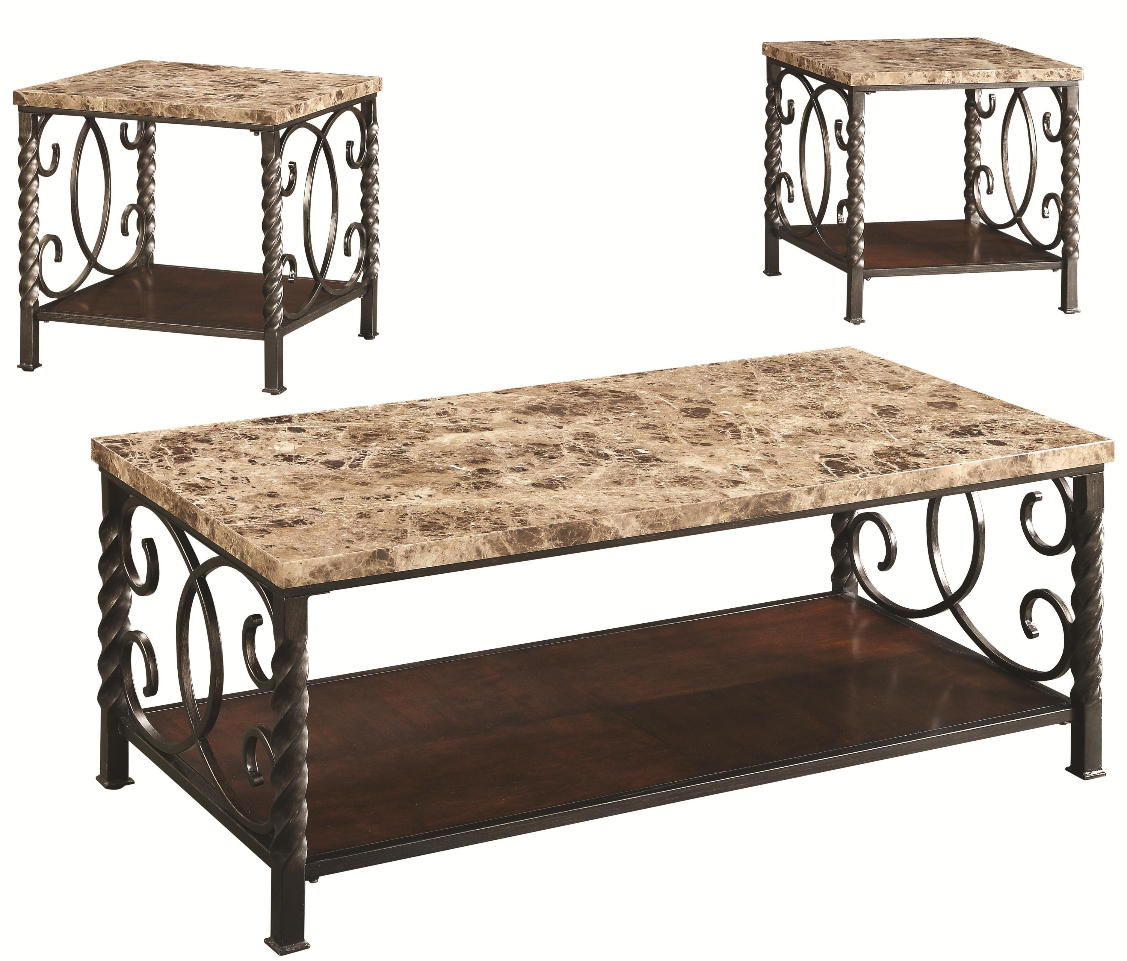 701695 3pc occasional set w/ faux marble top