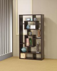 Bookcases cappuccino bookshelf with rectangular shelves
