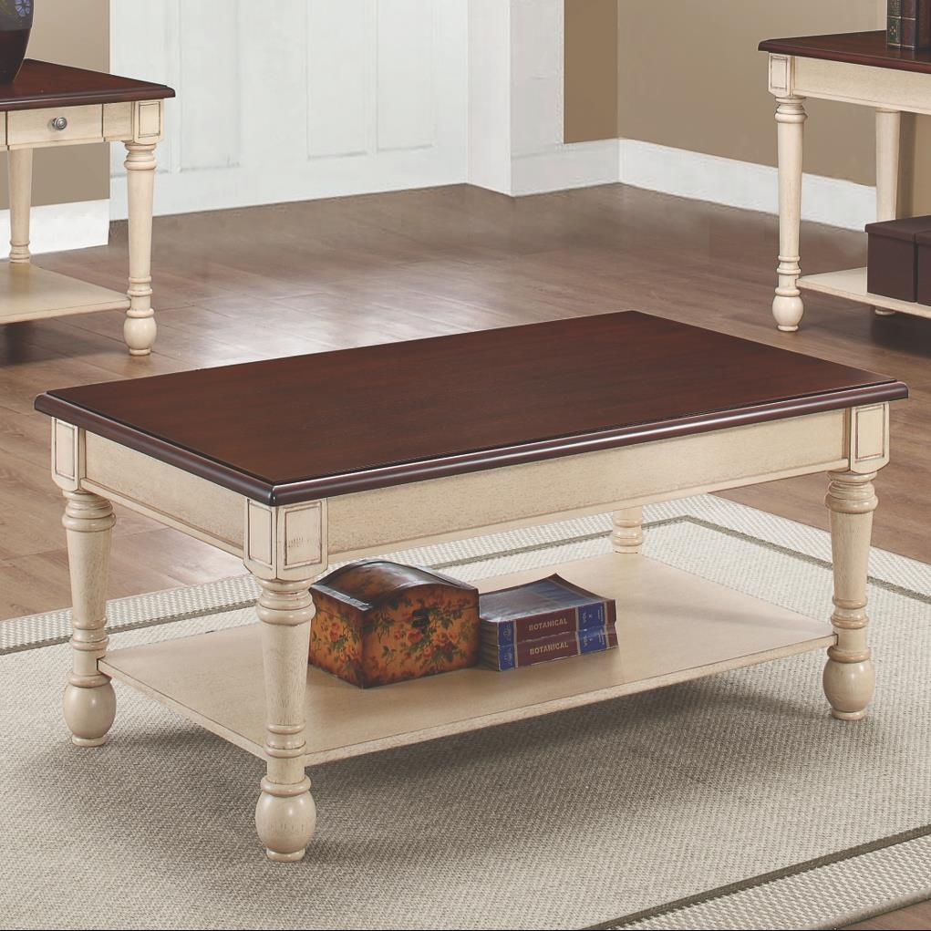 704418 two-toned transitional coffee table
