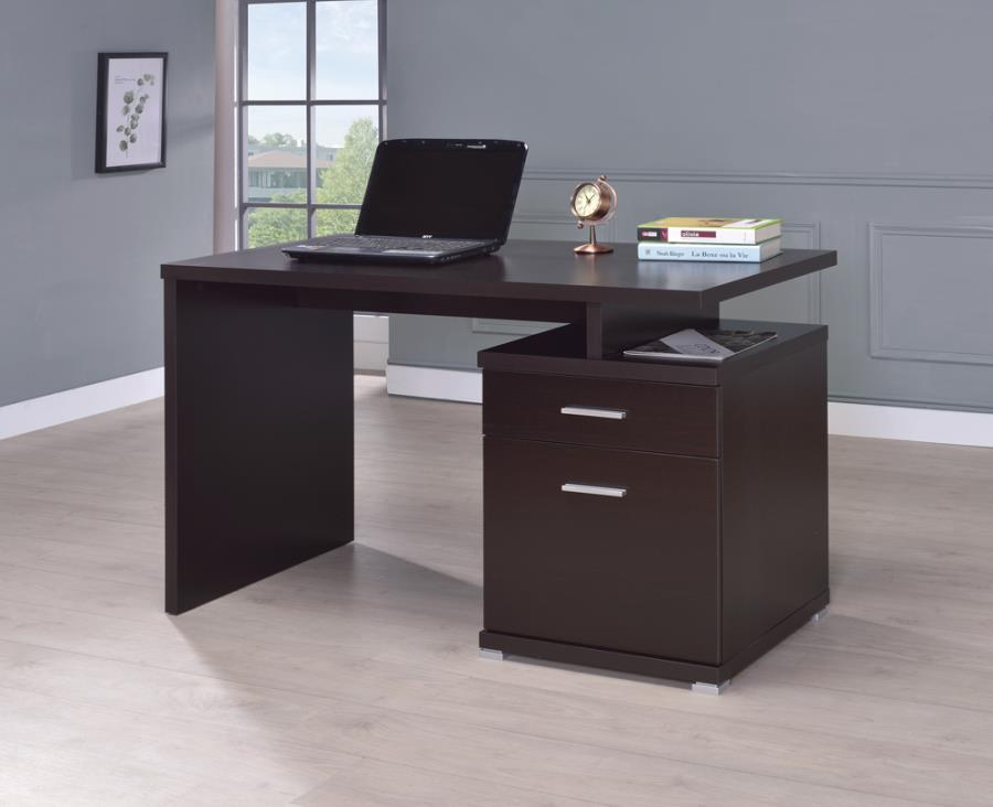 Irving 2-drawer office desk with cabinet cappuccino