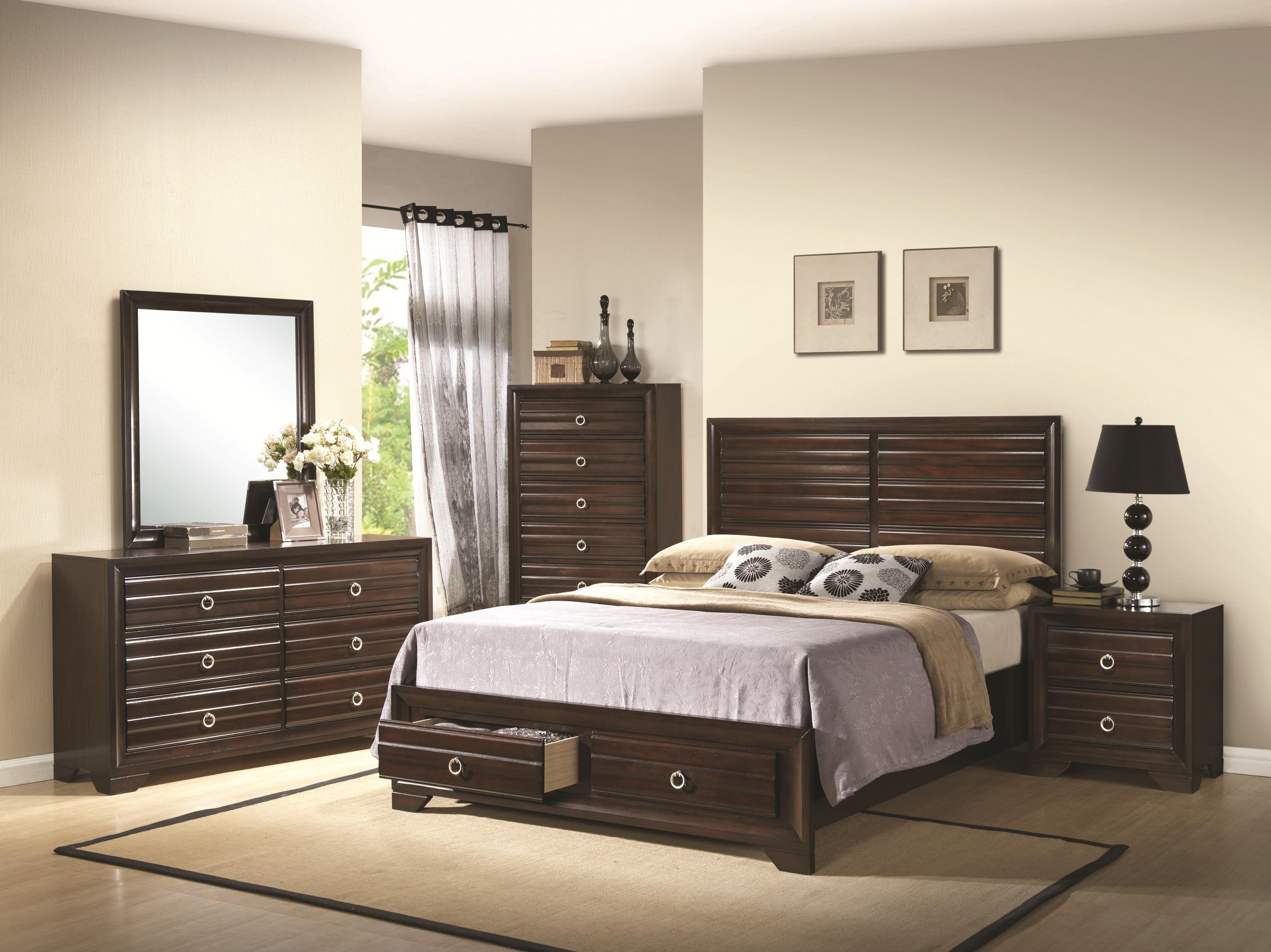 Cal king 4 pc set, bryce ( bed, dresser, nightstand, mirror)
