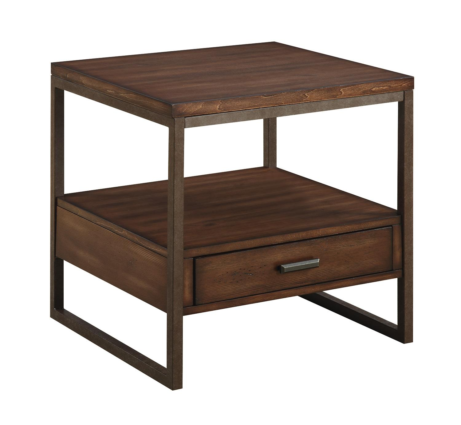 704307 industrial end table with one drawer
