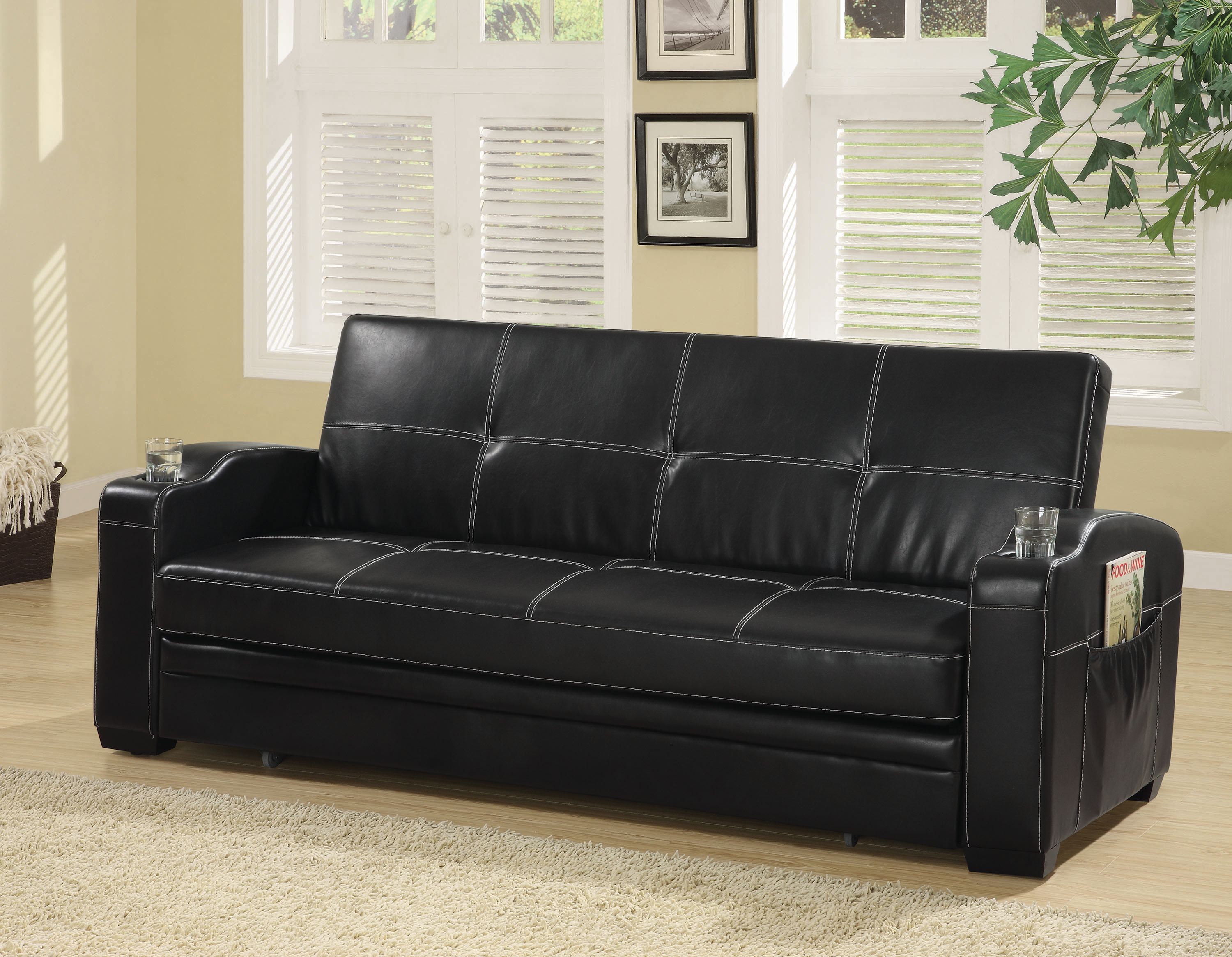 Avril upholstered sleeper sofa bed with cup holders black