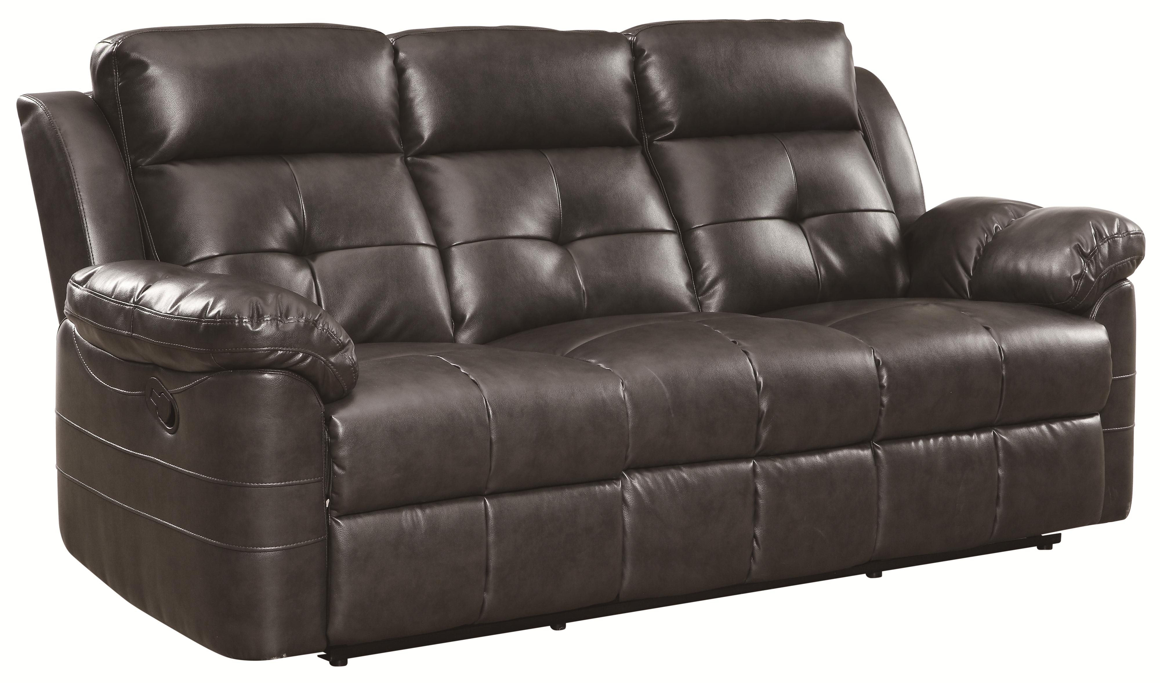 Keating contemporary, reclining motion sofa with headrests