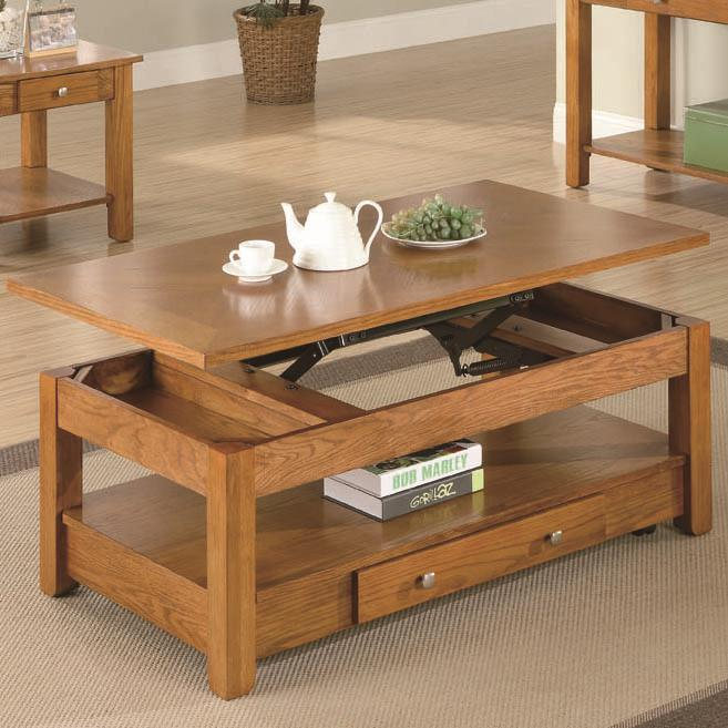 701438 occasional group lift top coffee table with storage drawer and shelf
