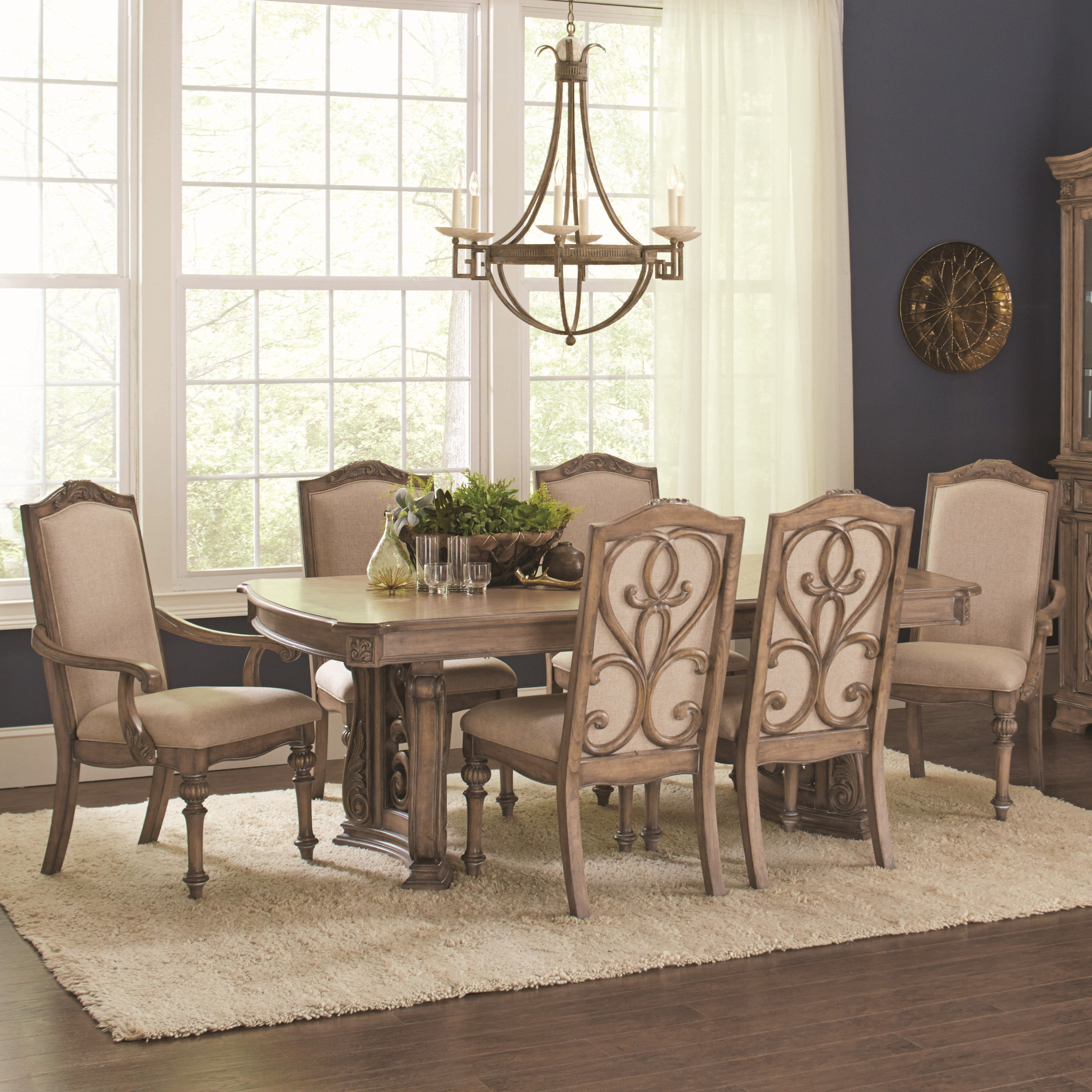 Ilana traditional 7 piece table and chair set with removable leaf