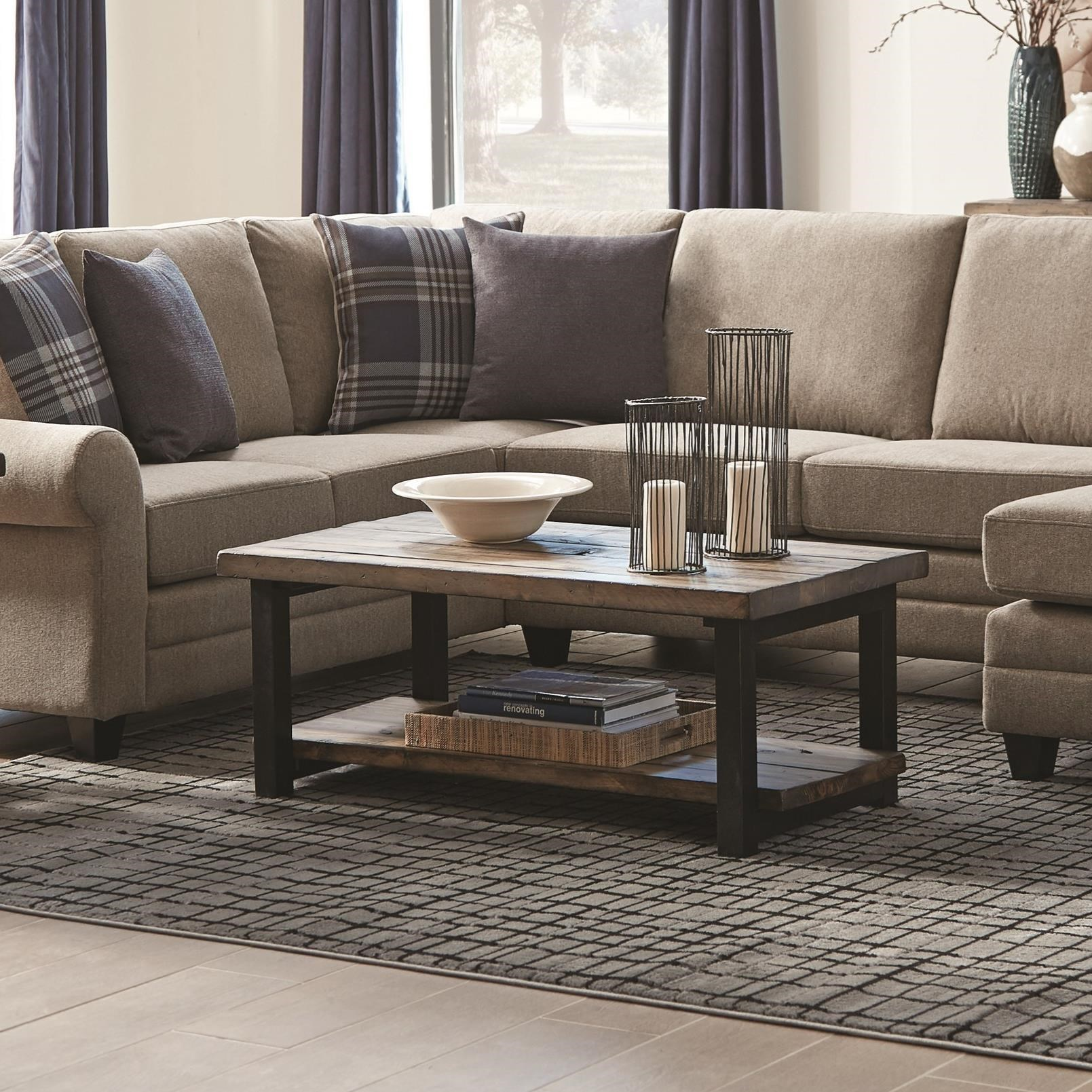 705678 rustic planked top coffee table