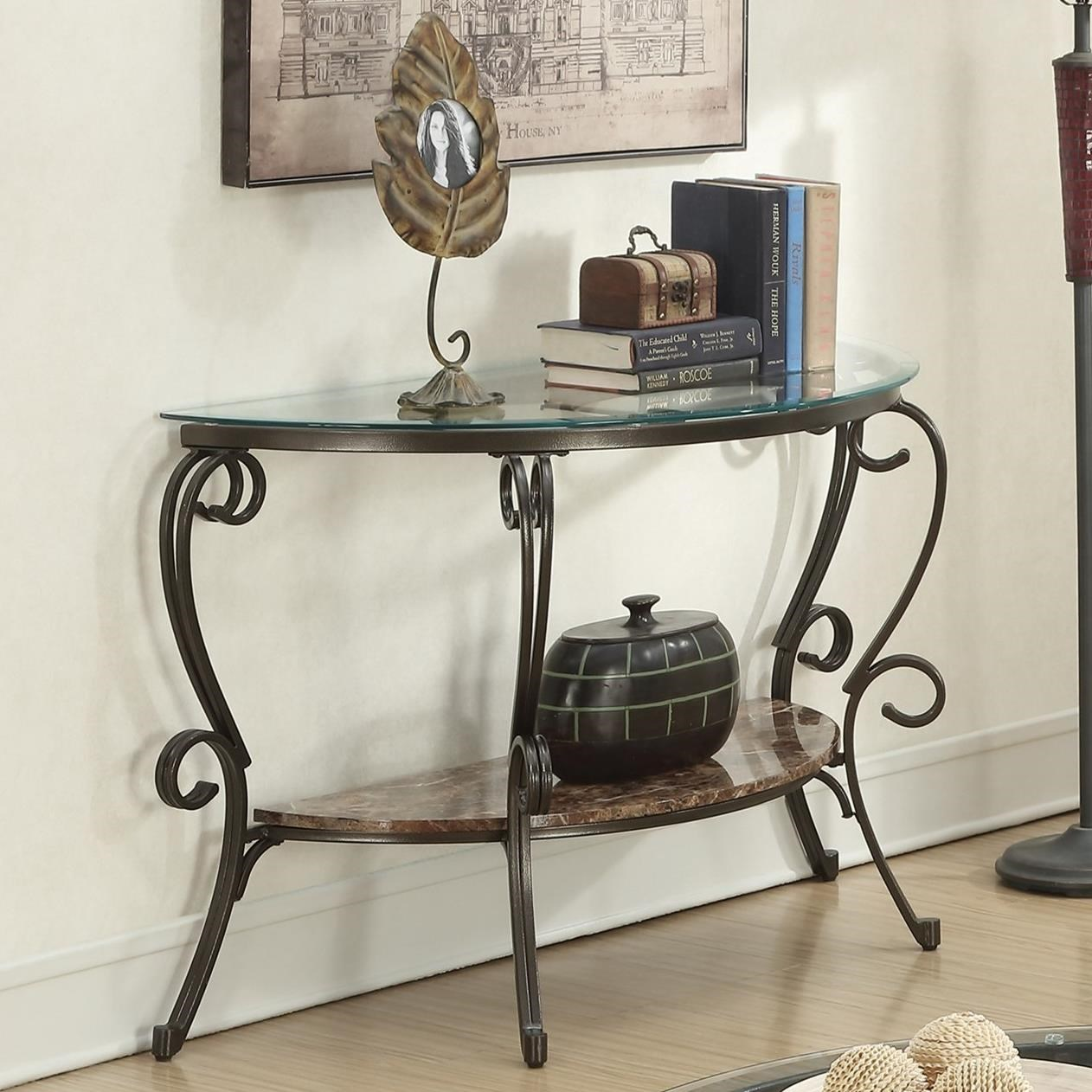 705149 gertrude sofa table with faux marble shelf