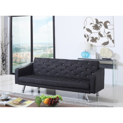 Futons sofa bed with crystal button tufting