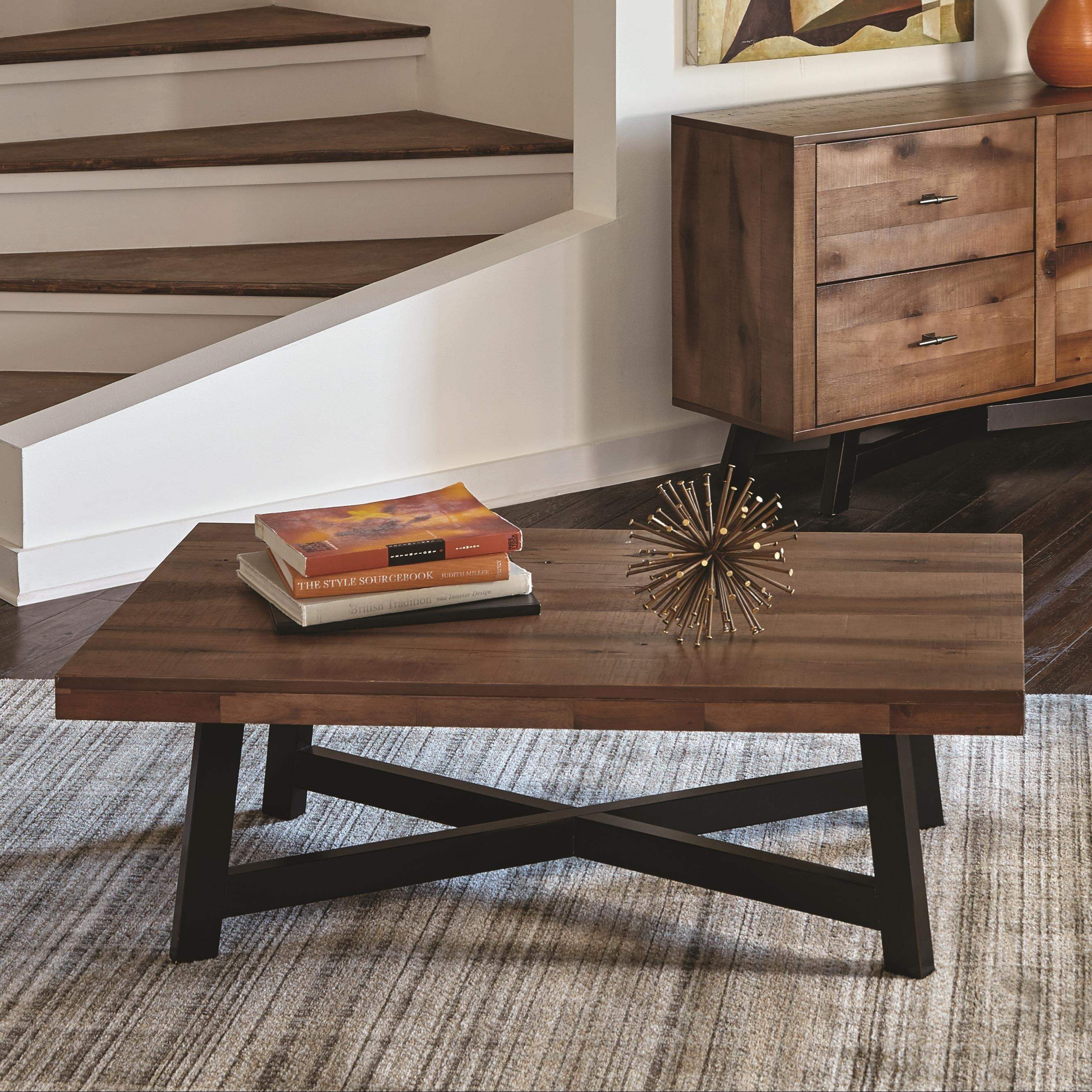 705498 rustic coffee table with x-shaped base