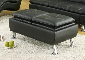Contemporary styled ottomans with hidden storage