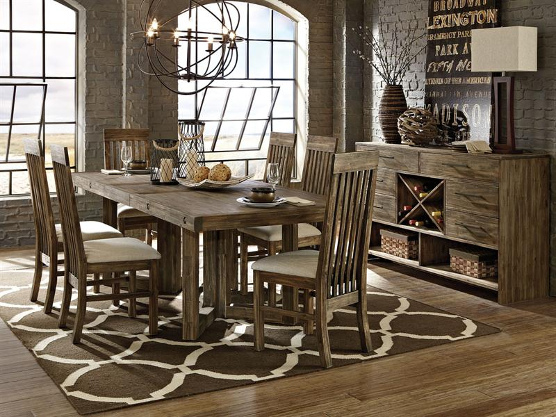Adler 7pc rectangular solid acacia dining room set- table & 6 chairs