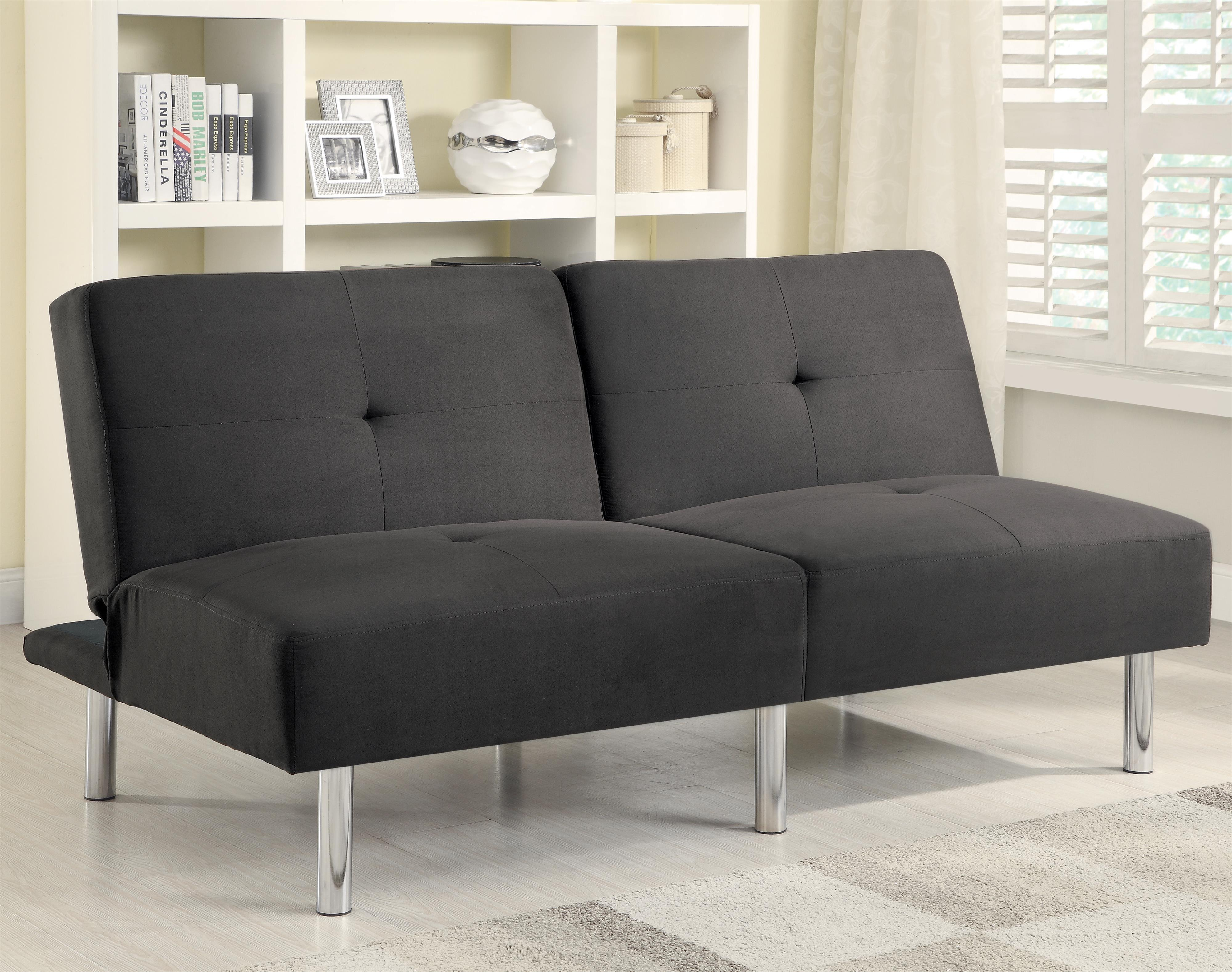 Contemporary microfiber sofa bed with split back