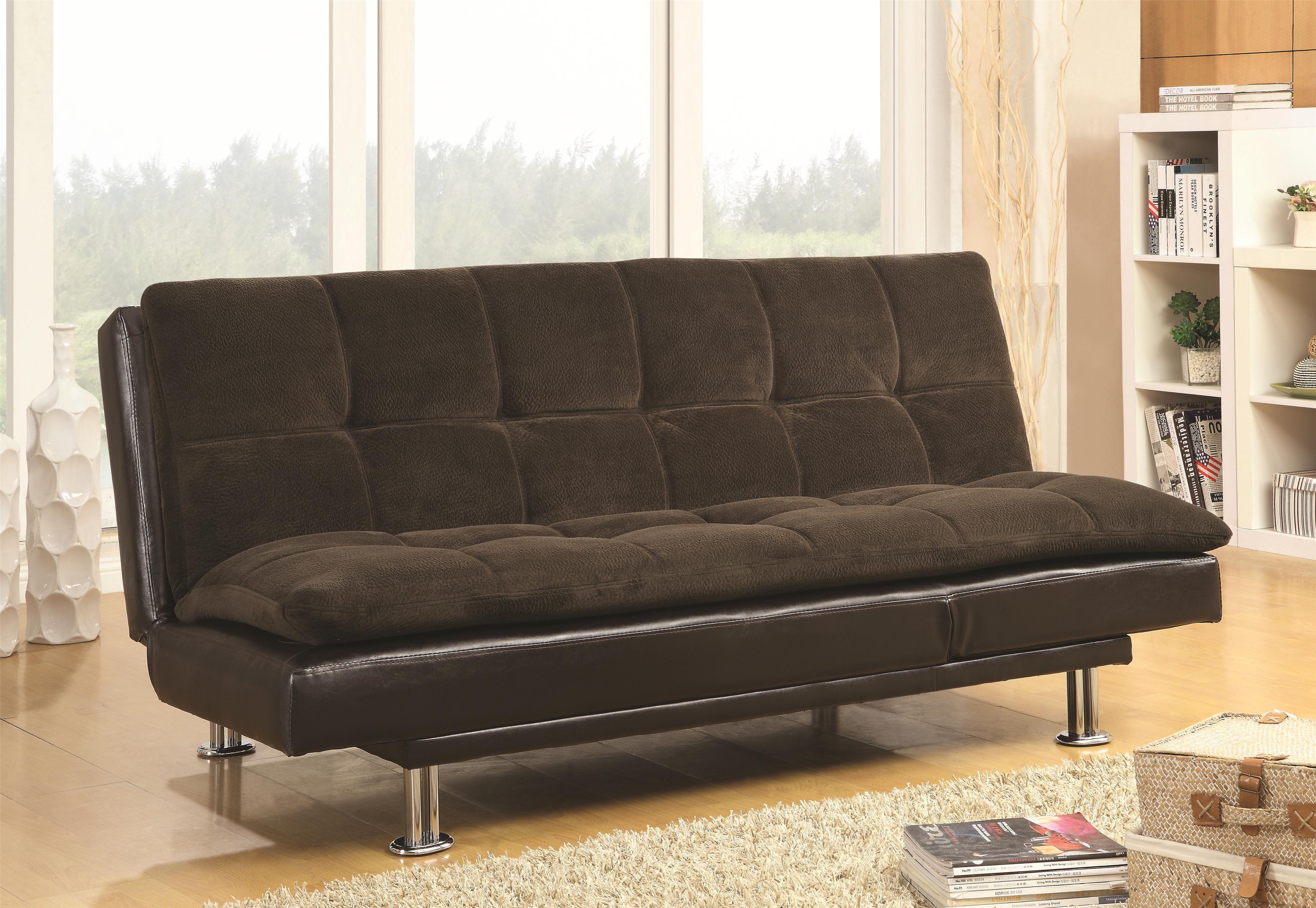Millie sofa bed with chrome legs and casual style