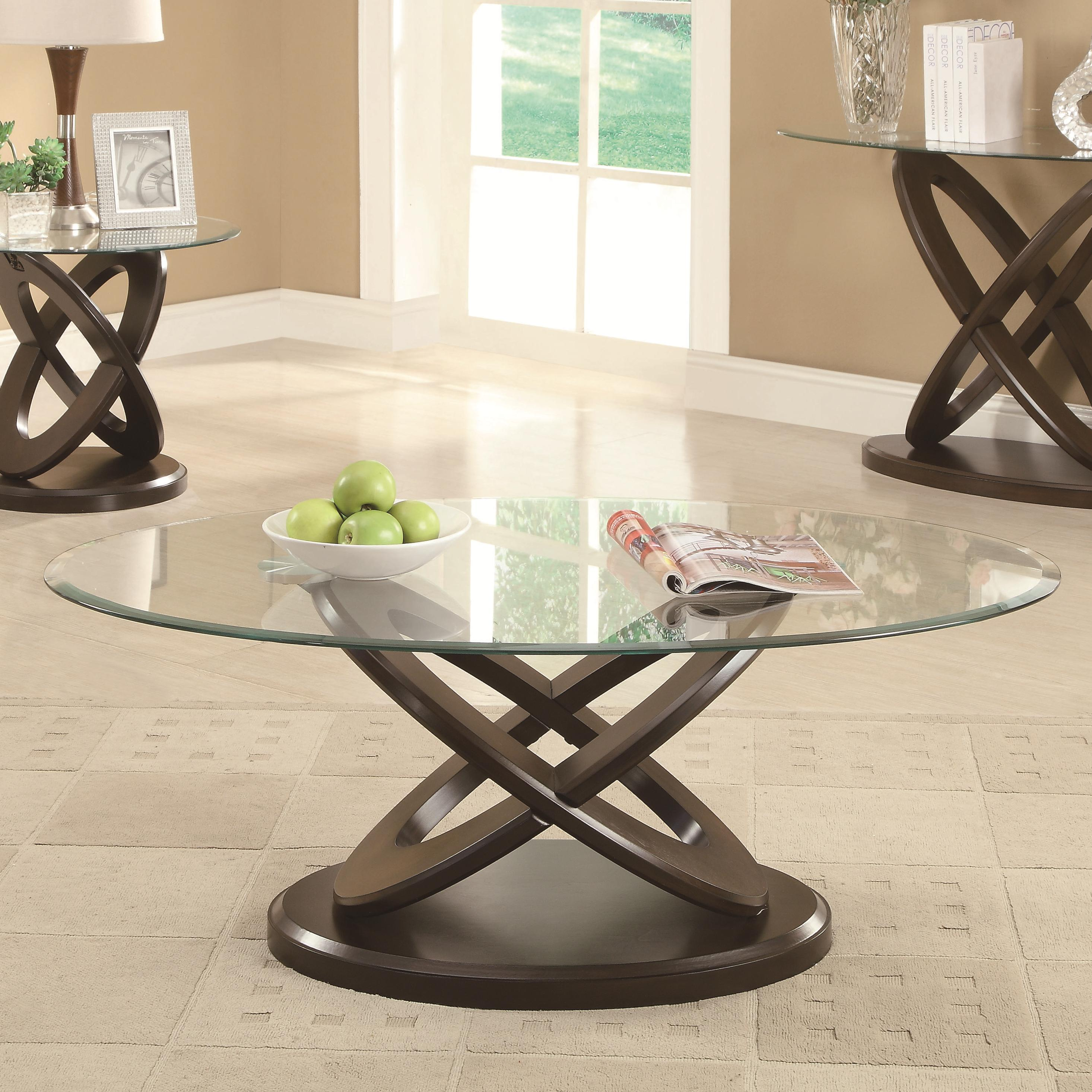 702788 glass top intersecting ring coffee table