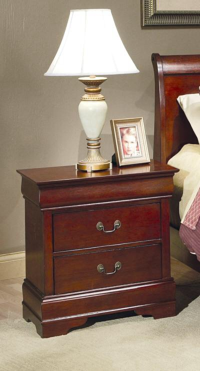 Louis philippe 2 drawer night stand brown