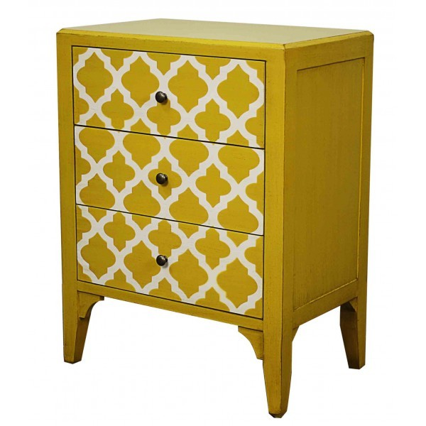 Vicenza small cabinet 3 drawers, yellow