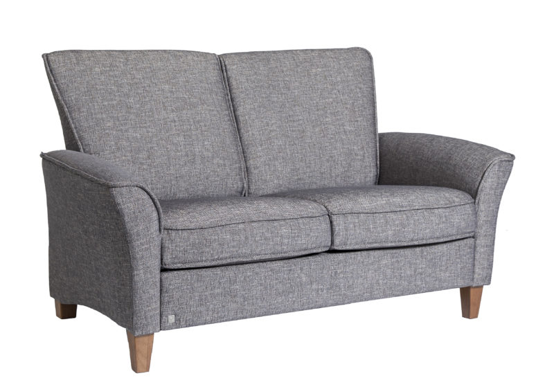 Fjords ida love seat dream mole fabric with walnut legs