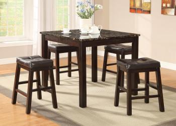 Sophia 5 piece pub set with faux marble table top