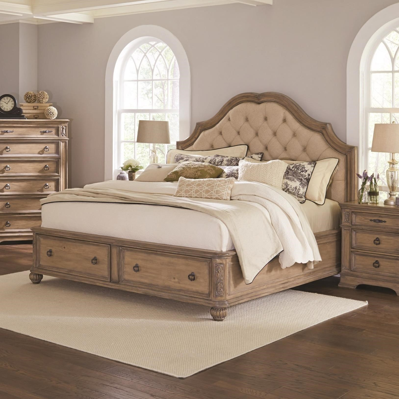 Cal king 4 pc set, illana (bed, dresser, nightstand, mirror)