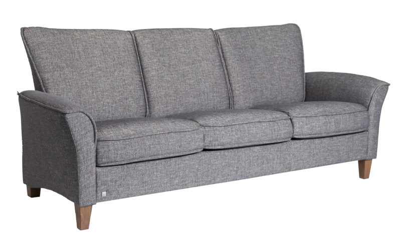 Fjords ida sofa 3 seat, dream mole fabric / walnut legs
