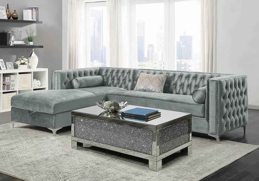 Bellaire button-tufted upholstered sectional silver